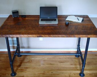 rustic l-shaped desk made from reclaimed wood | desks, woods and pipes
