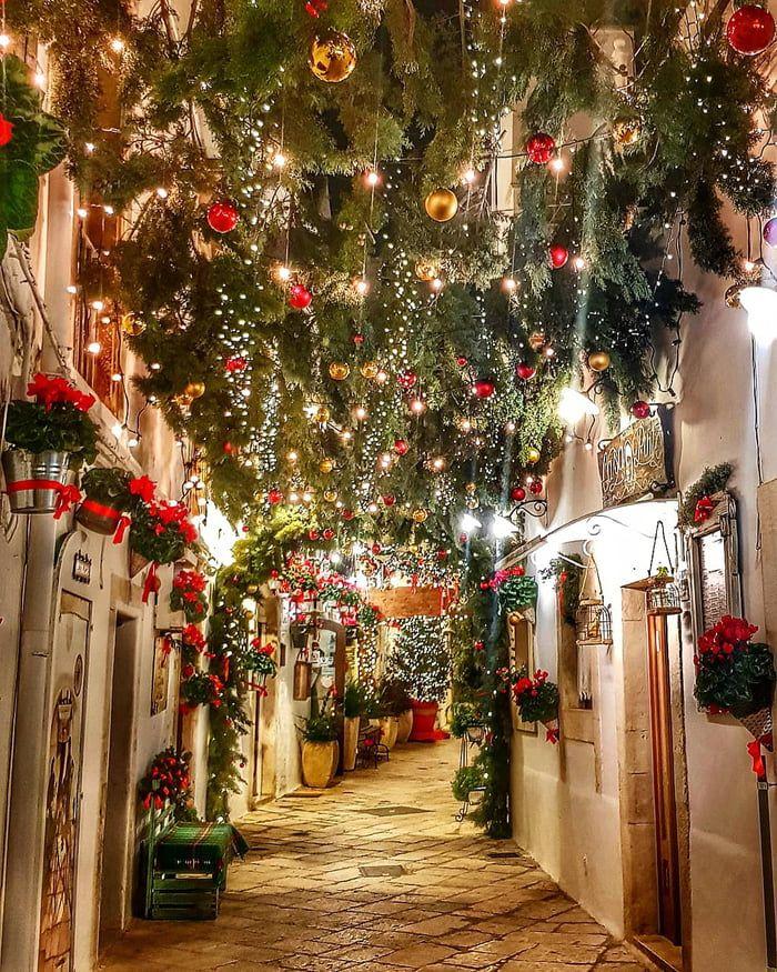 Beautifully festive street in Italy