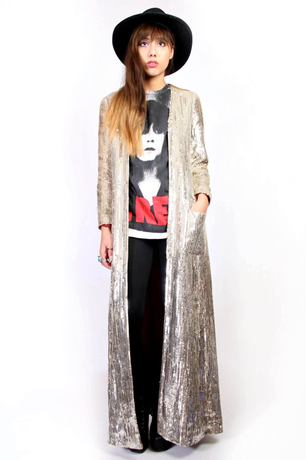 STUNNING Gold Sequin Duster Jacket by DeepGems on Etsy https://www ...