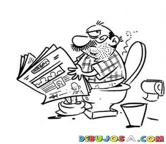 Dibujo De Hombre Defecando En Un Inodoro Para Pintar Y Colorear Senor Haciendo Popo Y Leyendo La P Dibujos Para Colorear Dibujos Para Pintar Dibujos De Hombres