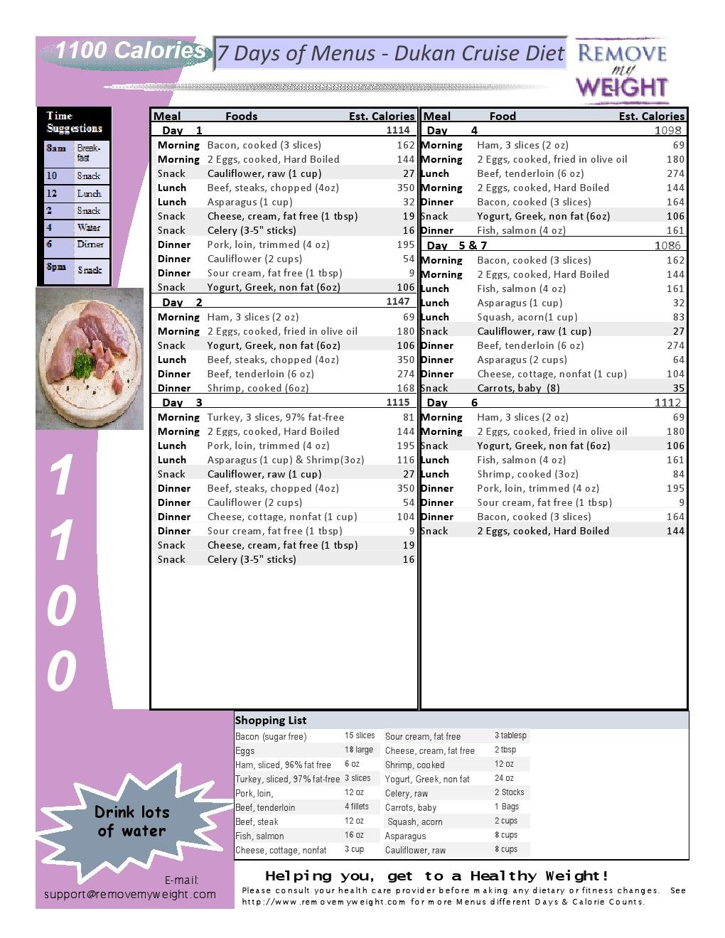 Printable - 1 Week 1100 Calorie Menu Plan - Dukan Diet