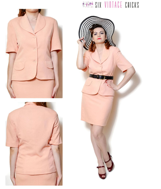 80s Skirt Suit Pastel Peach Salmon High Waisted High Collar Blazer V