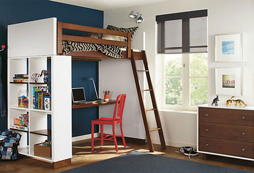 Classy Kids Bedroom Design With Loft Bed And Blue Combined White Wall Paint  Color And Wooden Drawer And Stunning Study Desk And White Bookcase And  Wooden ...
