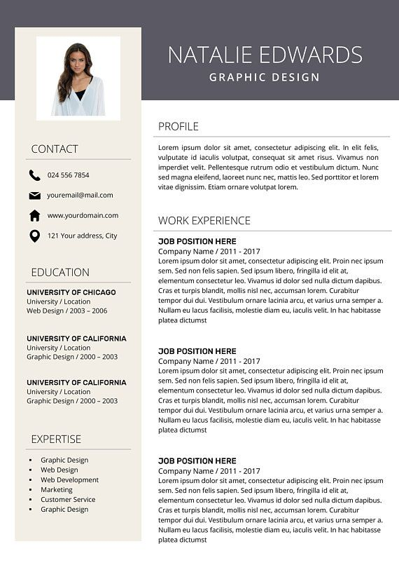 Creative Resume Template CV Template for MS Word and Pages - resume template for pages