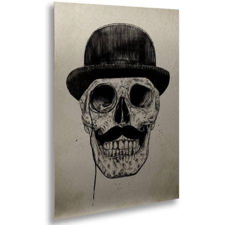 Trademark Fine Art Gentlemen Never Die Brushed Aluminum Wall Art Art By Balazs Solti 16 X 22 Walmart Com Skull Skull Art Trademark Art