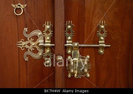 Typical brass lock on a door in Kerala, India, Asia Stock Photo