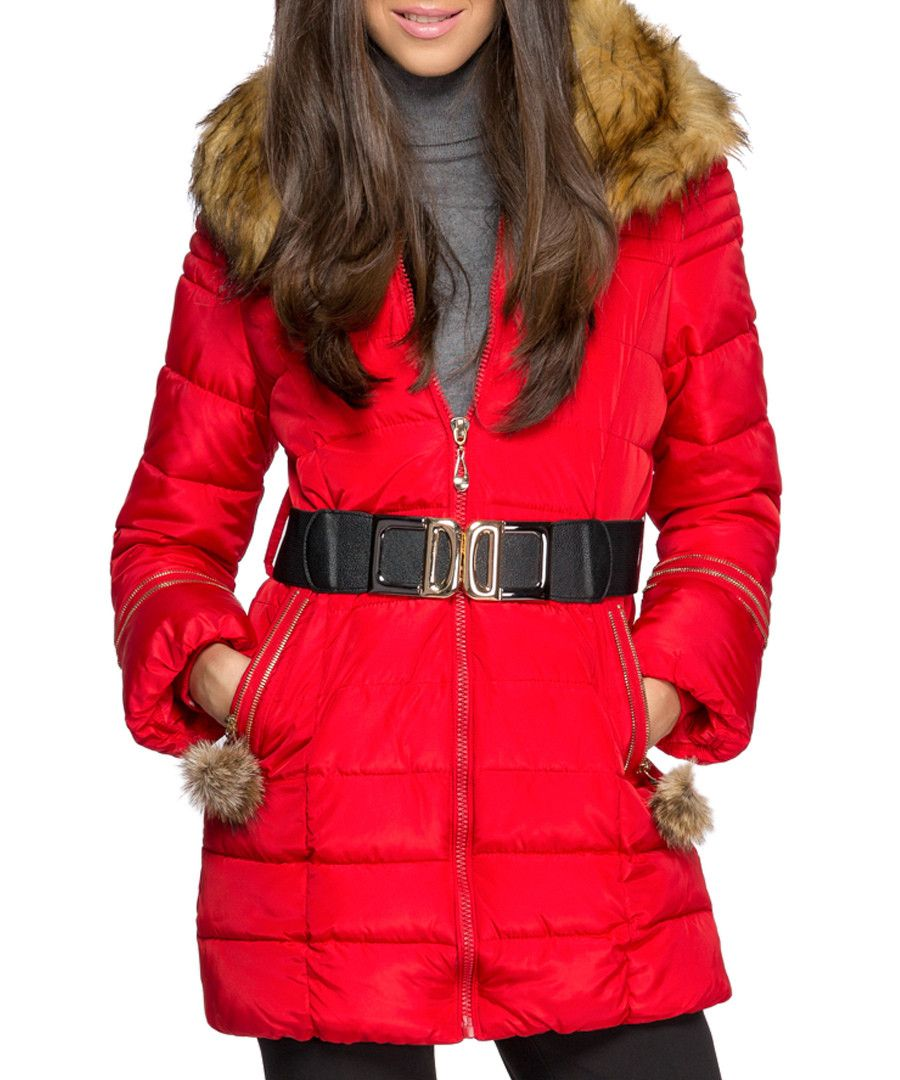 Red down filled zip parka coat Sale - ISABEL BY ROZARANCIO | Coats ...
