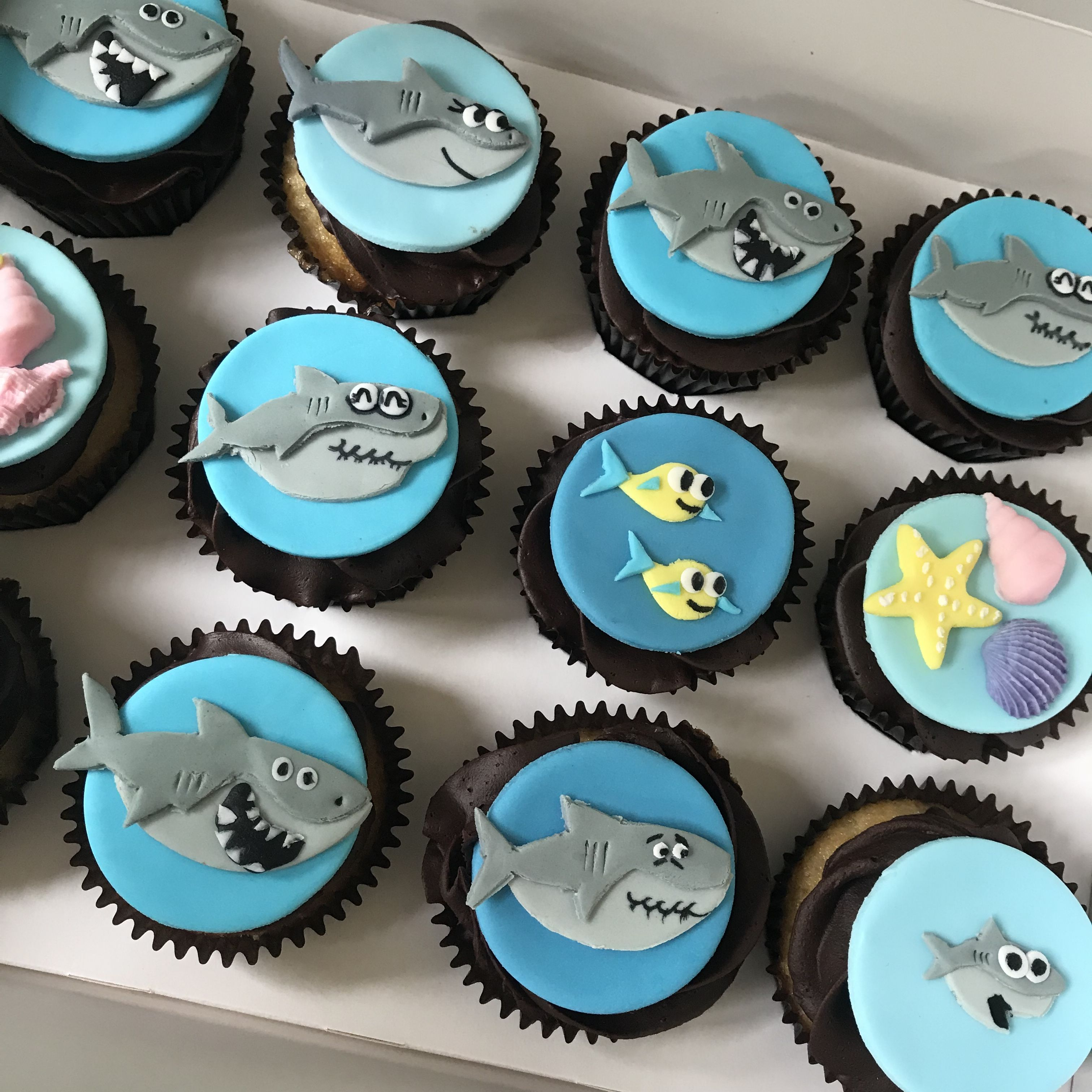Baby Shark Themed Cupcakes With Images Shark Themed Birthday