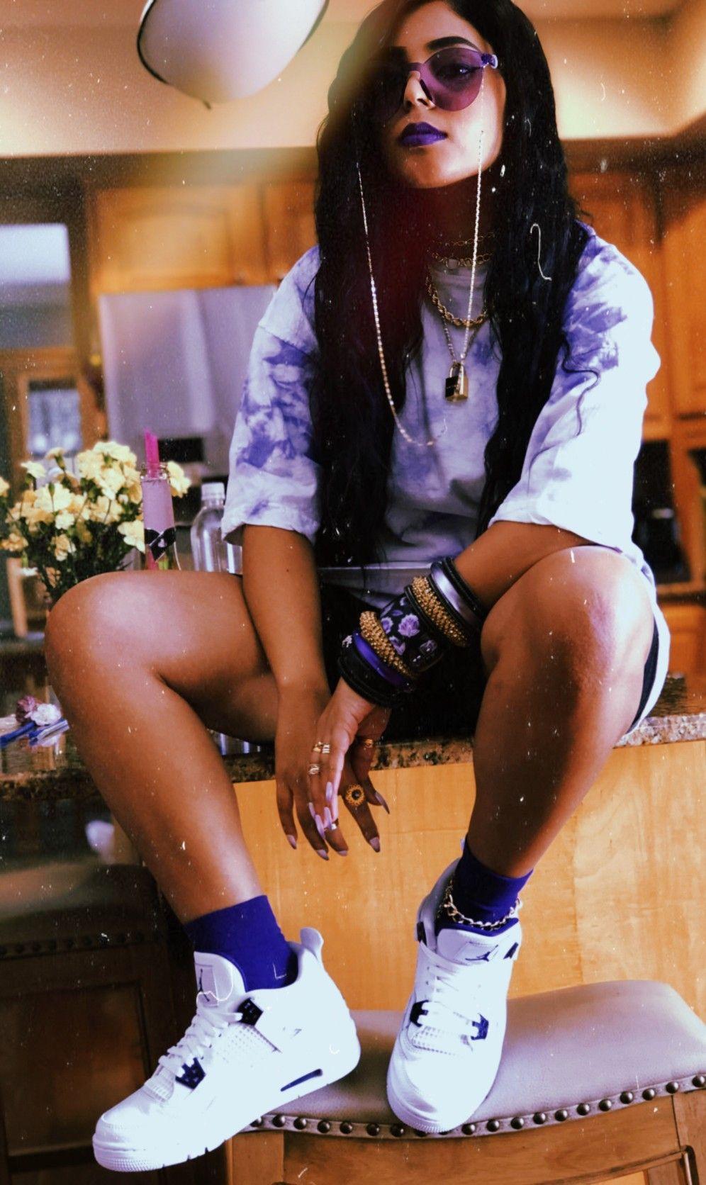 Women's Sneaker Inspo | Metallic Purple Air Jordan 4 | Jordan 4 ...