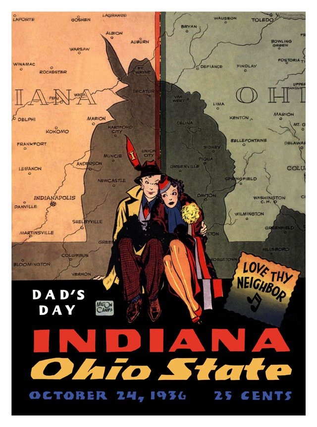 1936 Ohio State Buckeyes Vs Indiana Hoosiers 22x30 Canvas Historic