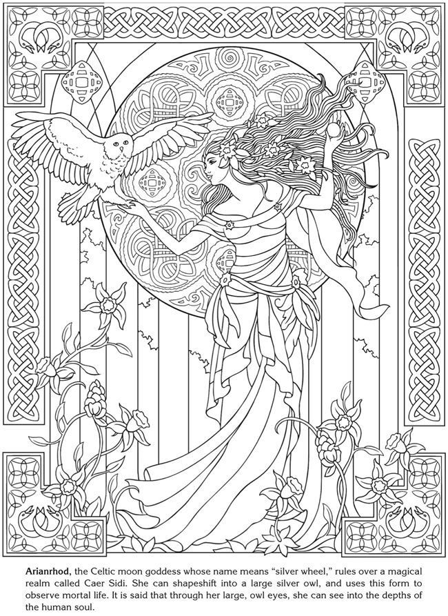 Arianrhod Celtic Moon Goddess Drawing With Art Nouveau Style From The Gallery Art Nouveau Celtic Coloring Coloring Pages Coloring Books