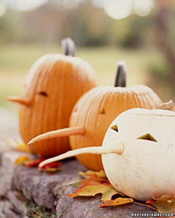 Long-nosed jack-o'-lanterns | Noses made of carrots! via Martha Stewart