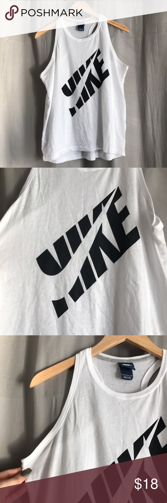 Nike • White Racerback Tank Nike white racerback tank with black logo. Semi-loose fit. Size small. Only worn twice Nike Tops Tank Tops