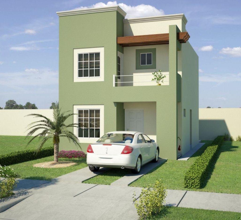 Fachada de casa en color verde cemento color del frente for Fachadas exteriores minimalistas