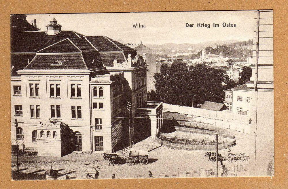 Wilna Postkarte I.Weltkrieg schöne Straßen Ansicht mit Gebäude