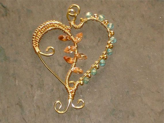Heart Pendant with CZ and Apatite Beads