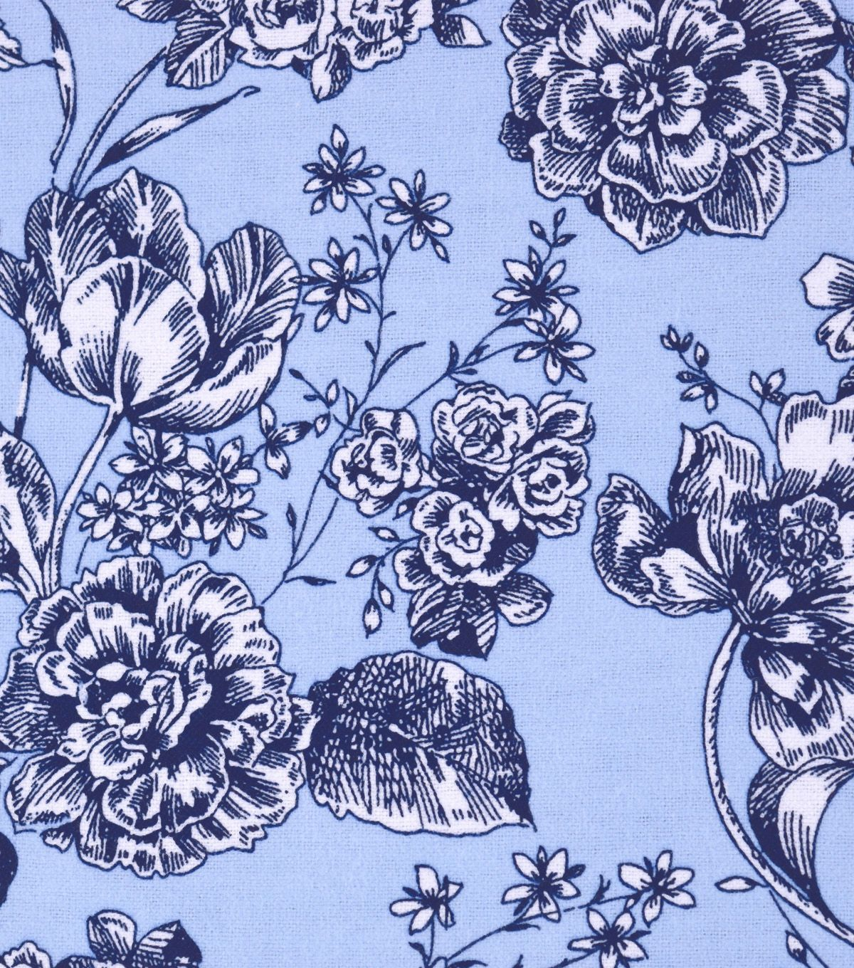 "Snuggle Flannel Print Fabric 42"" - Floral On Cashmere Blue"