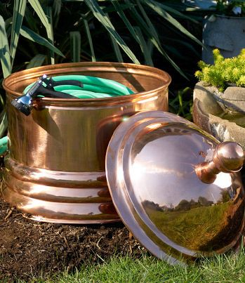 Palm Beach Copper Garden Hose Pot And Lid