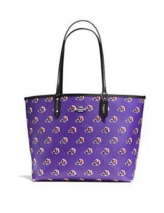 Coach Bramble Rose Reversible City Tote Purple Bags Bags Best