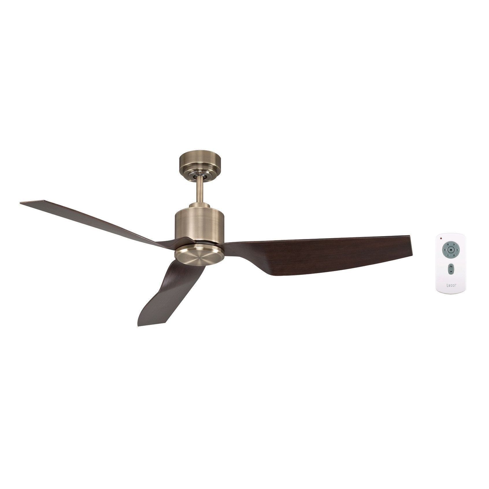 50 In Antique Brass Ceiling Fan with Remote Control Metal
