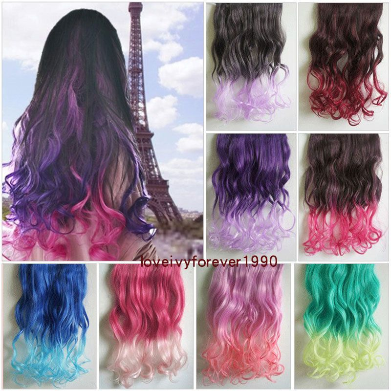 Gradient Hair Ombre Long Curly Hair Hairpieces Clip in Hair Extensions 5 clips #New #HairExtension