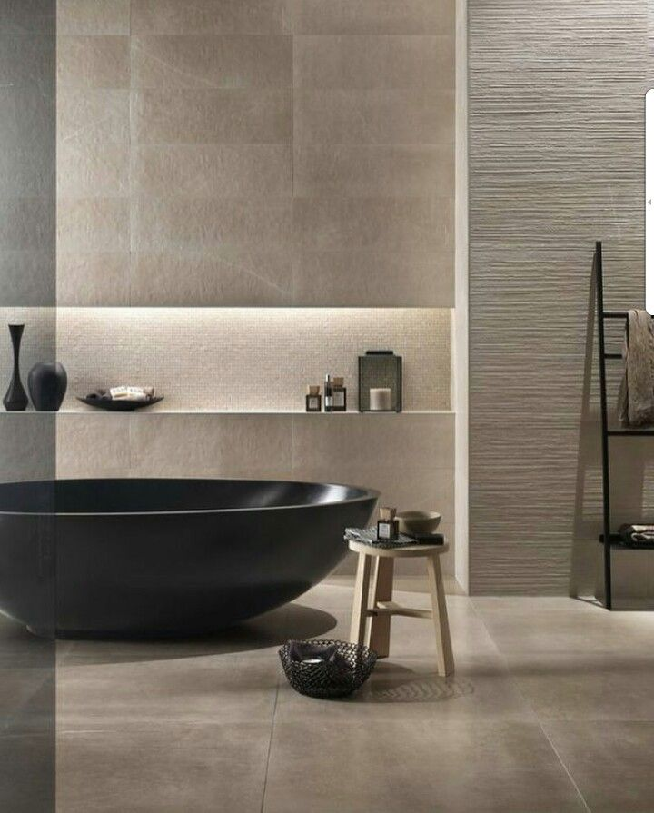 Why Not Bring The Outdoors In With A Stone Bathroom And Black Tub Bathroom Bathroomideas Modern Bathroom Bathroom Inspiration Modern Modern Bathroom Design
