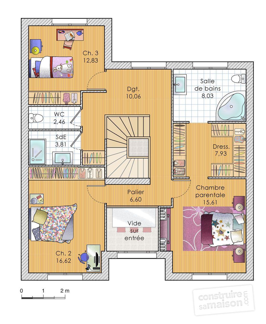 plan de maison 2 niveau 3 chambres