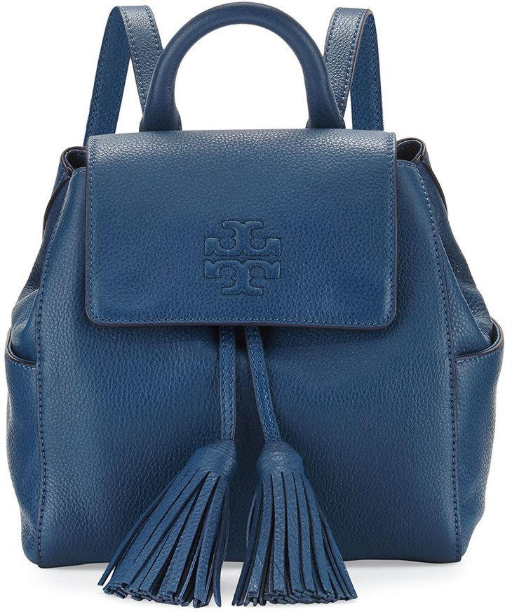 22fc2d56ef9 Tory Burch Thea Mini Leather Backpack. Navy leather backpack with tassels