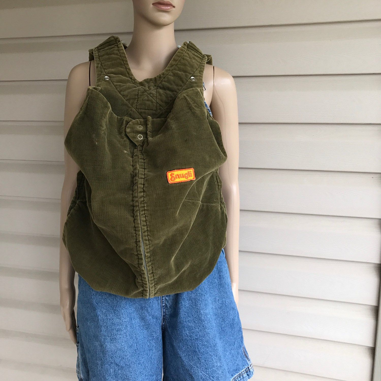68e5481dac2 Vintage Olive Green Snugli Baby Carrier 70 s