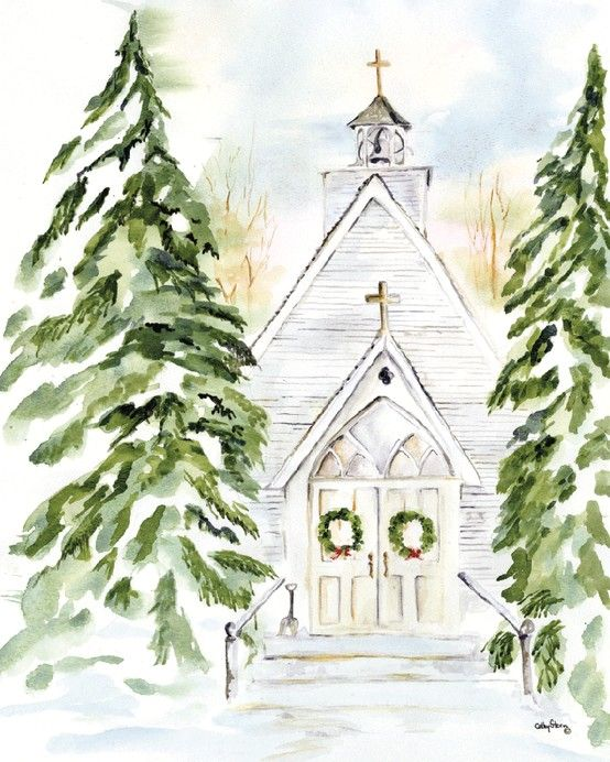 Christmas church watercolor scene christmas all Christmas card scenes to paint