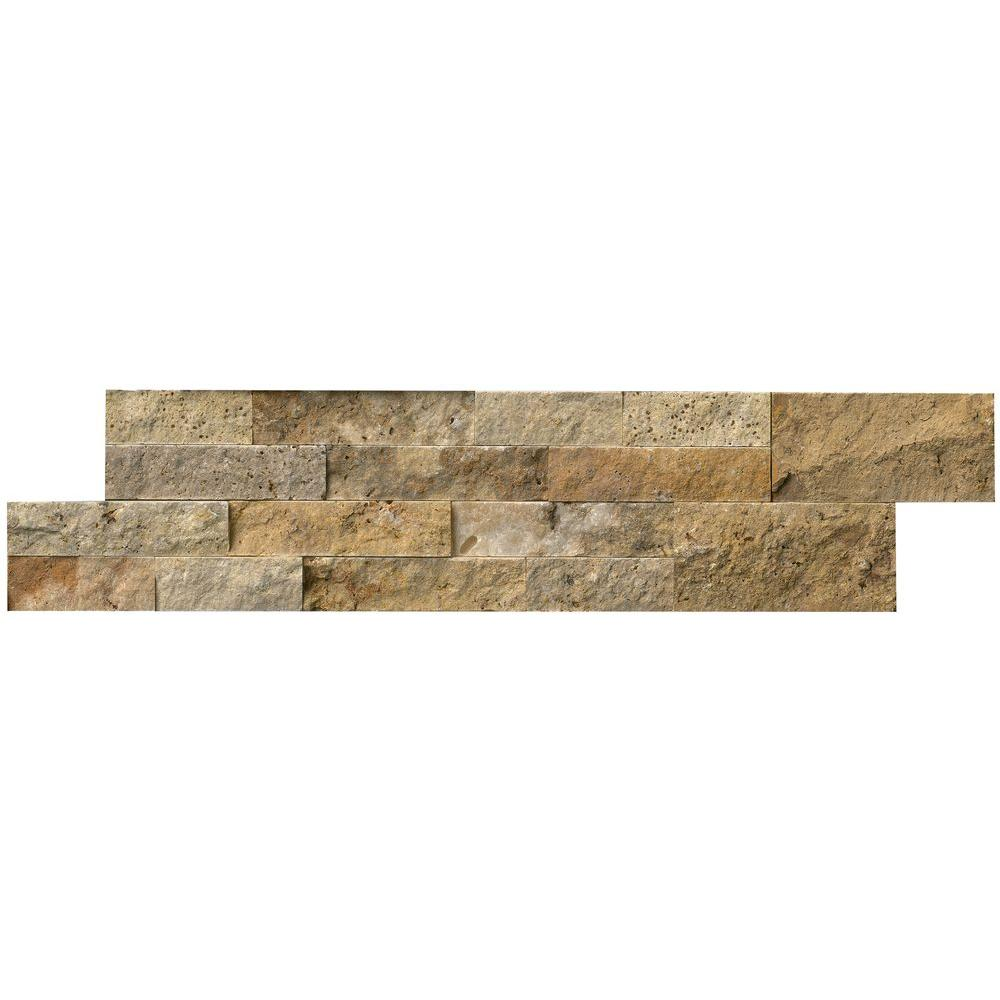 Msi Picasso Ledger Panel 6 In X 24 In Natural Travertine Wall Tile 10 Cases 60 Sq Ft Pallet Lhdpnltpic624 The Home Depot Travertine Wall Tiles Wall Tiles Travertine