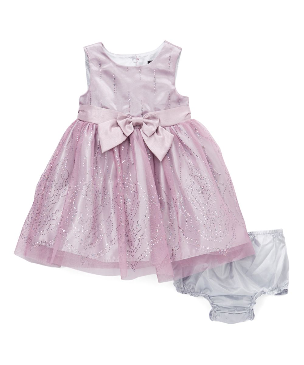 Lilac Bow-Accent A-Line Dress - Infant & Toddler