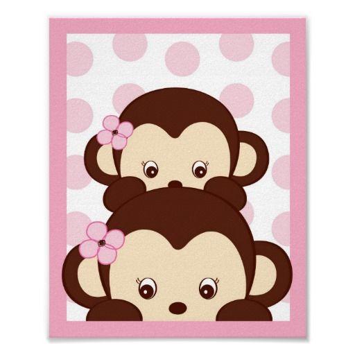 Girl Monkey Nursery Wall Decor : Mod girl monkey dots nursery wall art print infantil