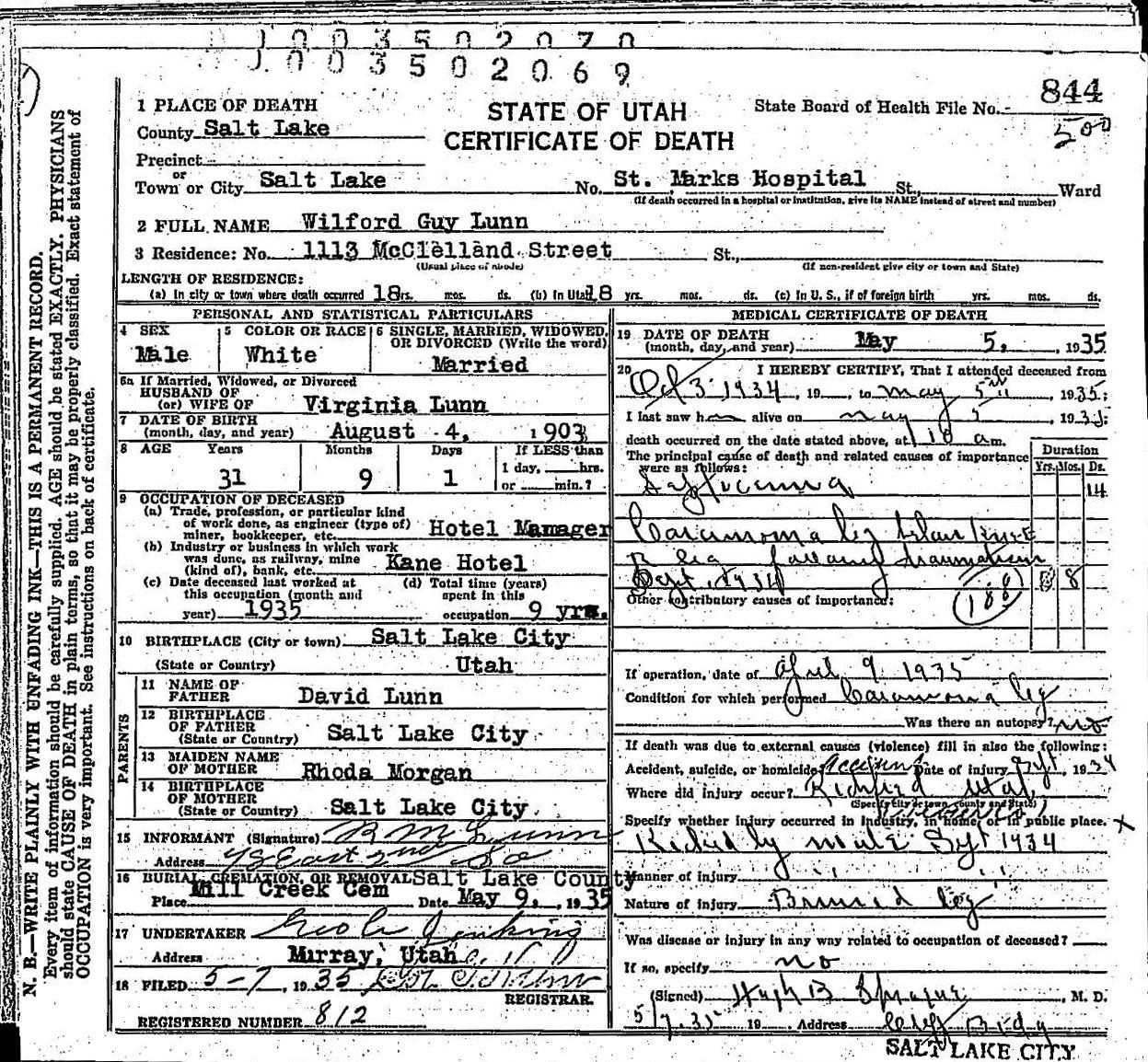 Day 3 Genealogy Pinterest Challenge Wilford Guy Lunn death certificate.  Guy was my mother's father and passed away when she was 8 years old.
