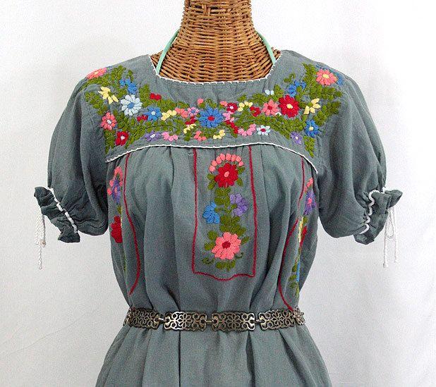 mexican peasant dress hand embroidered quotla antiguaquot grey