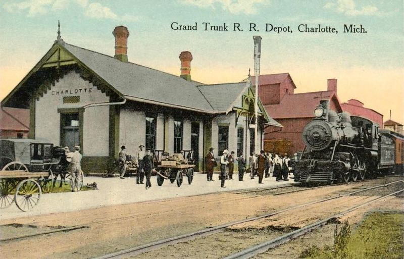 Vintage Postcard Of The Grand Trunk Railroad Depot In