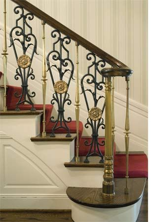mixing wood with iron balustrades | stunning combination of wood and wrought iron provide a beautiful mix ...