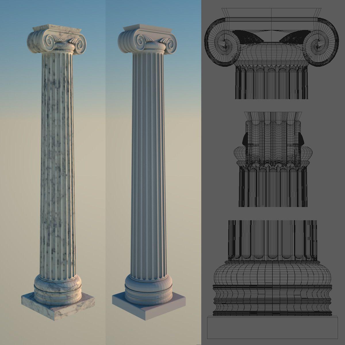 3d Greek Column 1 Ionic