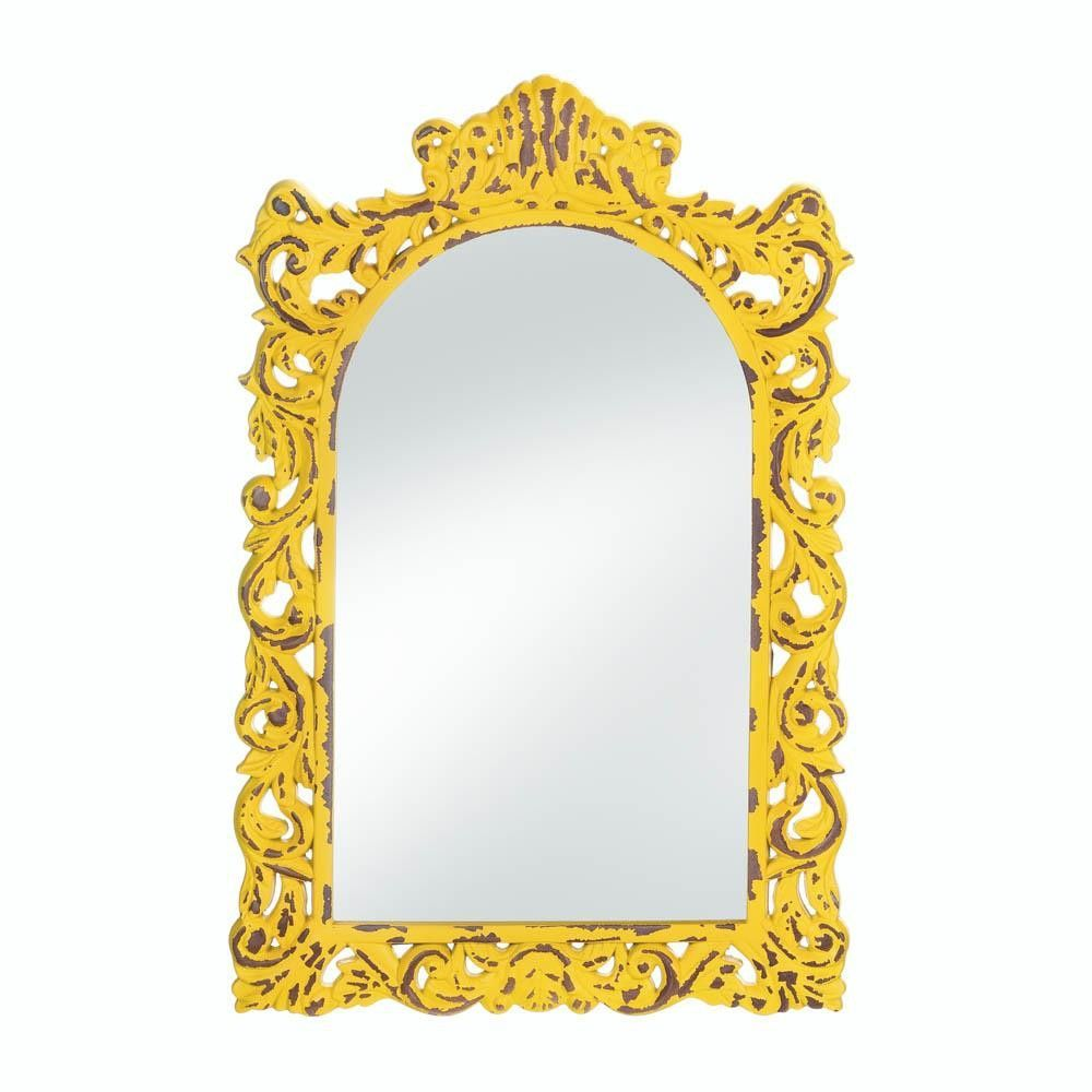 Opulent distressed yellow wall mirror yellow wall mirrors and opulent distressed yellow wall mirror amipublicfo Images