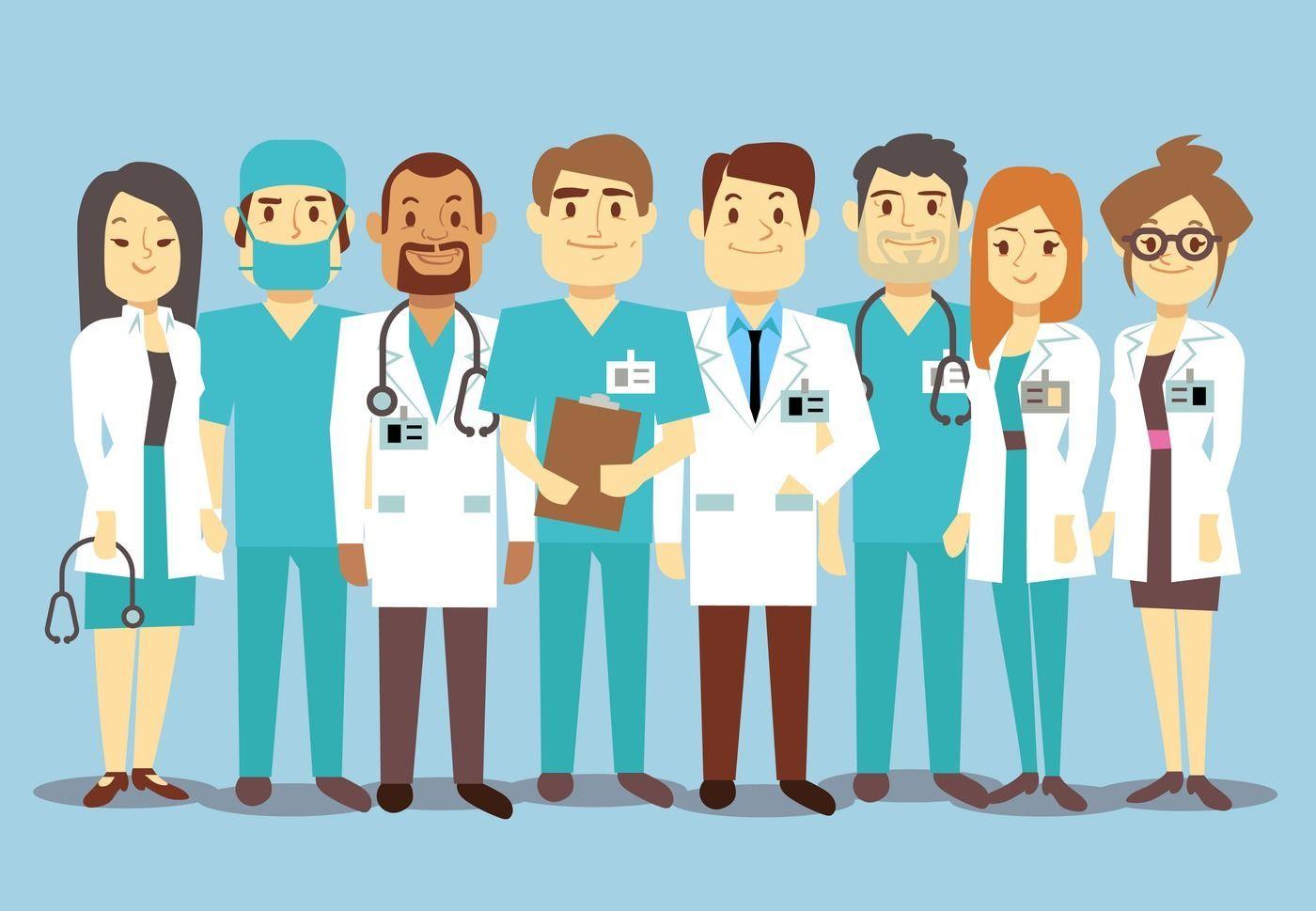 Hospital medical staff team doctors nurses surgeon vector