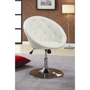Coaster 102583 Round Back Swivel Chair White White Swivel