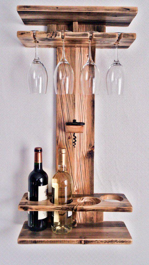 Rustic Wood Wine Rack, Wine Shelf, Wine Bottle Holder, Stemware Glass Holder, Wine Organizer, Bar Shelf, Wall Mounted Wine Glass Rack