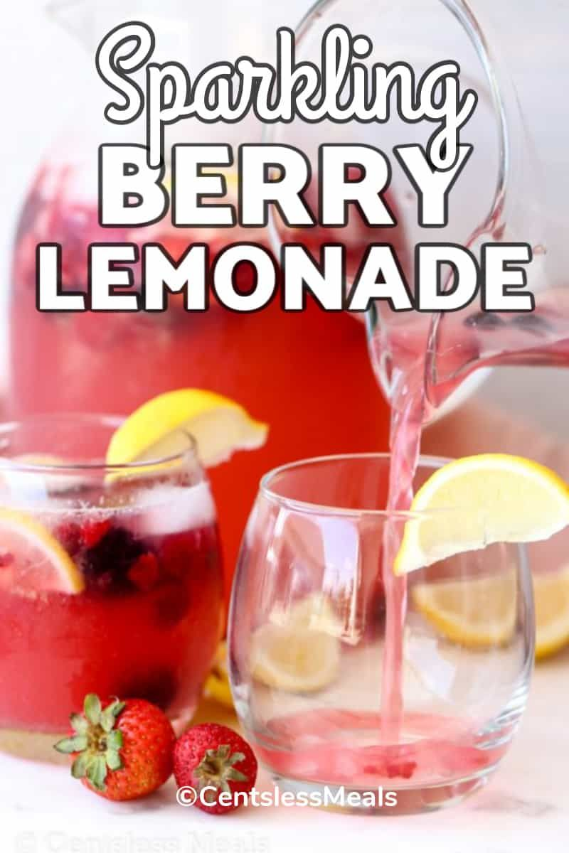 Sparkling Berry Lemonade Is A Delicious 3 Ingredient Drink That Is So Refreshing On Hot Summer In 2020 Berry Lemonade Recipe Refreshing Drinks Recipes Lemonade Recipes