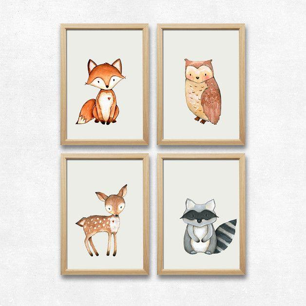 Wald Tiere Set, Kunstdruck A4, Kinderzimmer Deko | Foxes