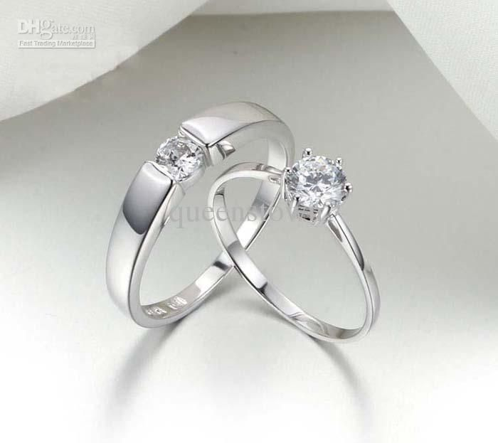 jewelry silver bling wedding heart set sterling cz clear ring smo side stones engagement rings