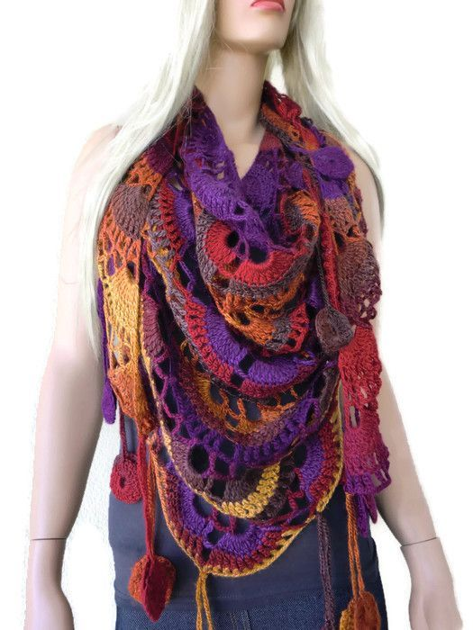 Harvest Moon scarf- Bohemian crochet scarf-Multicolor Crochet lace ...