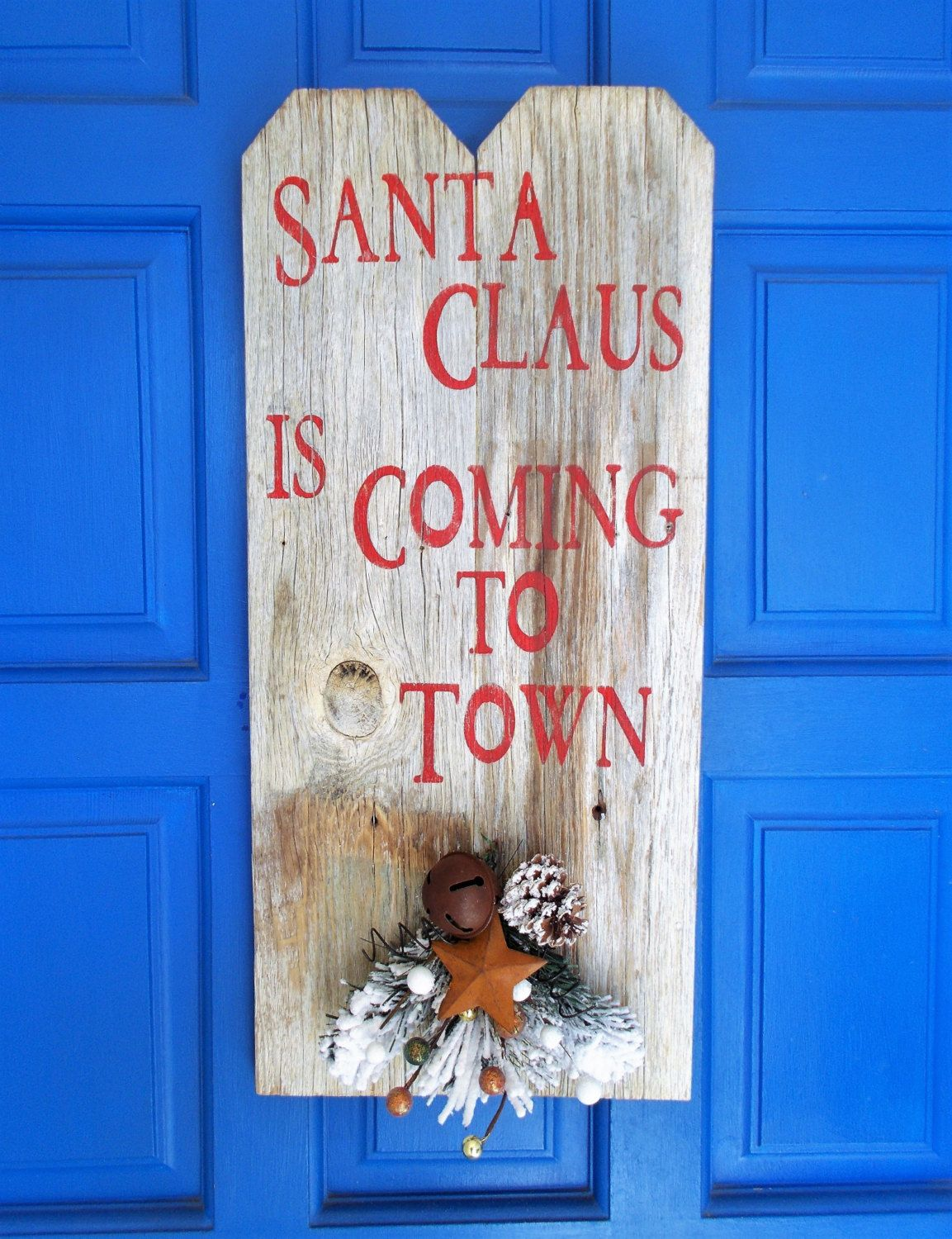 Santa Claus is Coming to Town, Holiday Wall Hanger, Christmas Door Hanger, Christmas Decoration, by kathleenmelville1 on Etsy