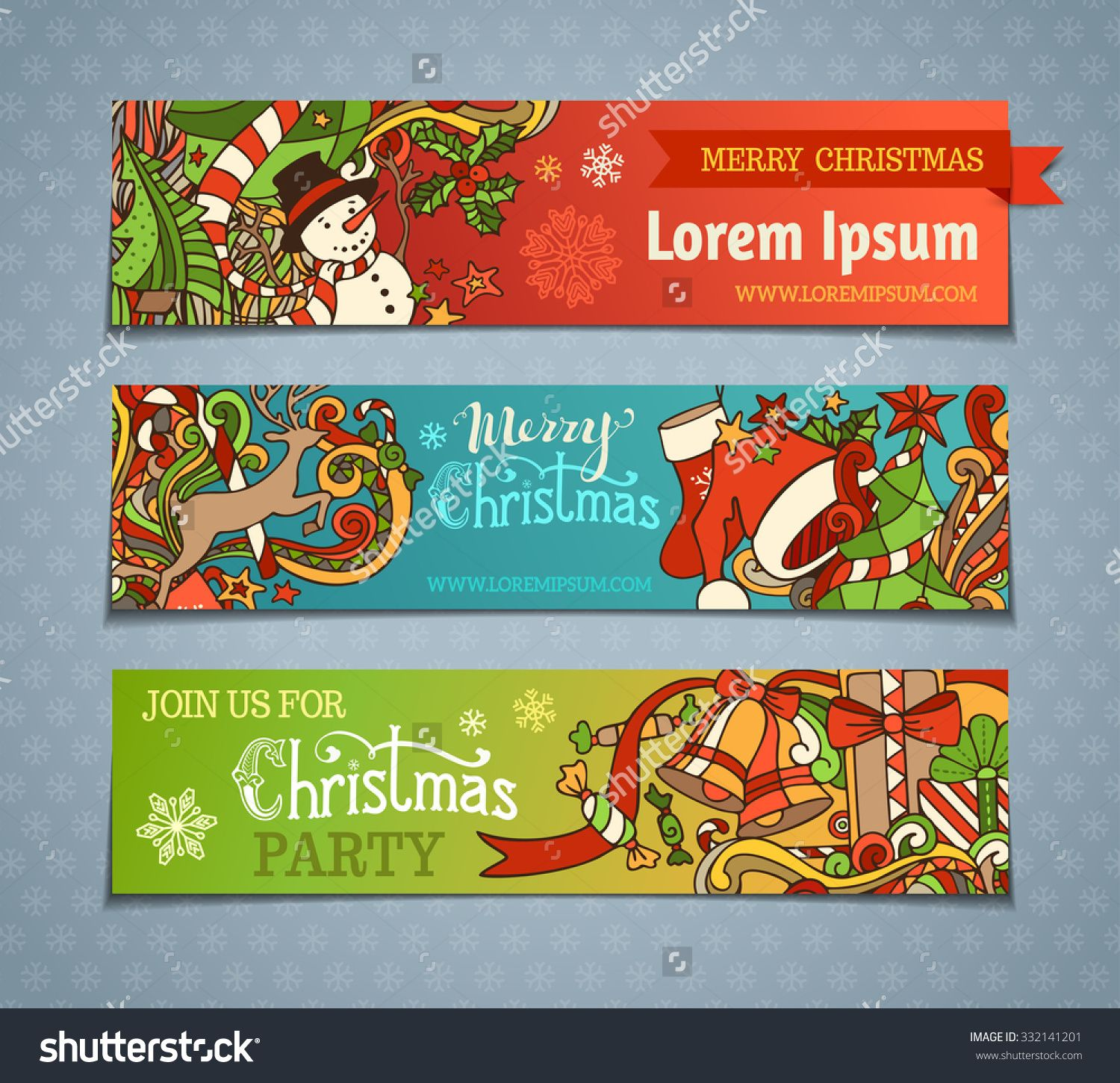 Vector set of cartoon Christmas banners. Colorful Christmas tree and baubles, Santa sock and hat, holly berries, gifts, candy canes, snowman, snowflakes, swirls, deer, sweets, bells and ribbons.