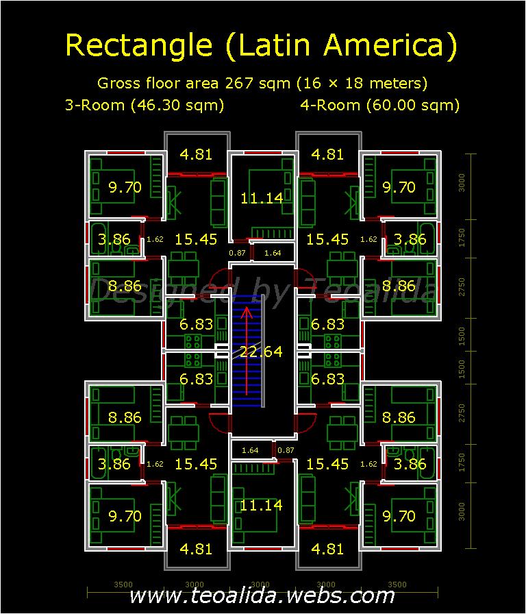 Rectangular Block Floor Plan 2 And 3 Bedroom Apartments Apartment Plans Condo Floor Plans Apartment Floor Plans