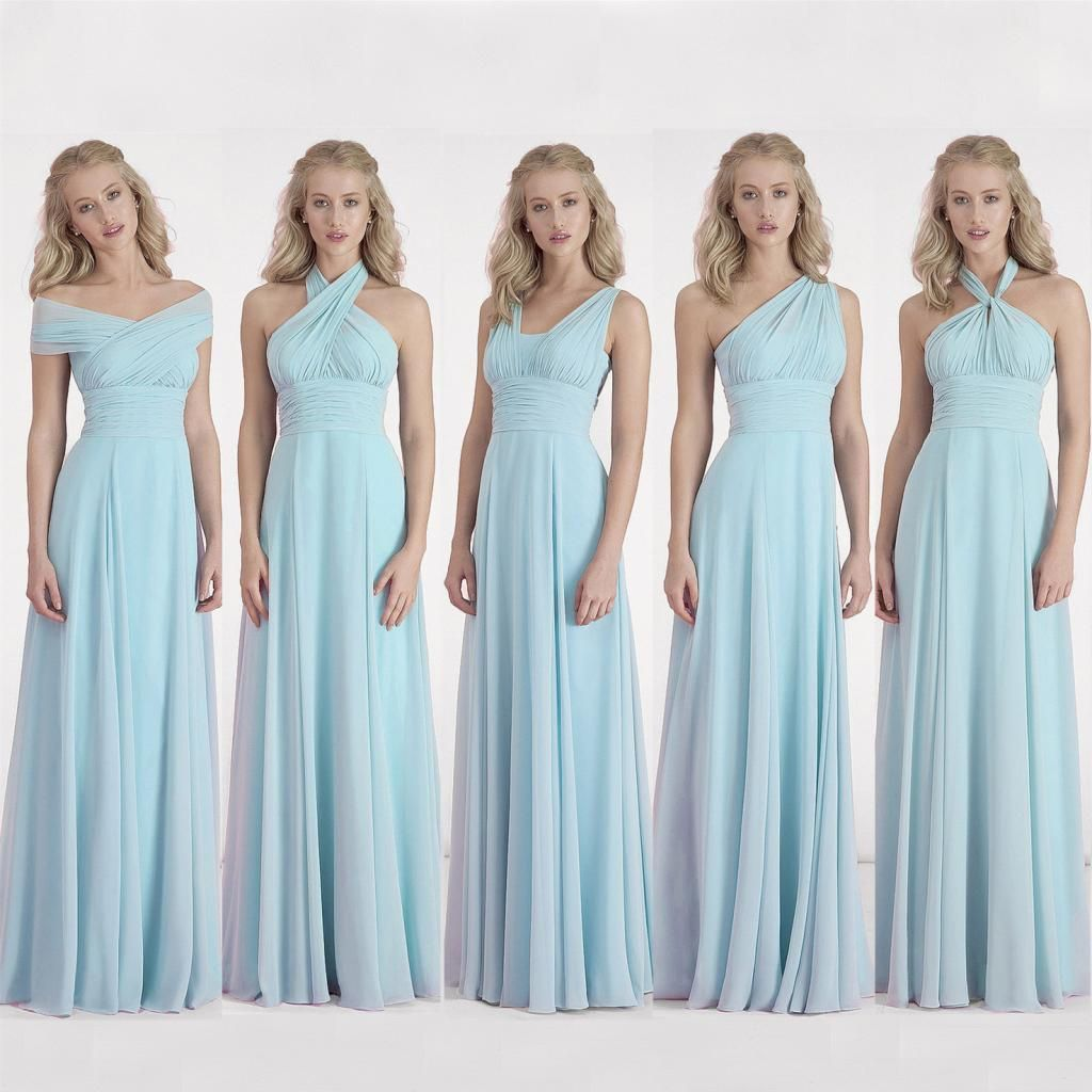 2016 Convertible Bridesmaid Dresses Light Sky Blue Chiffon Wedding Party  Gowns Ruched Long Simple Cheap Dress For Women Cotton Bridesmaid Dresses  Designer ... 0b41cccbc543
